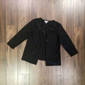 Black JM Collection Cotton Flower Trim Cardigan